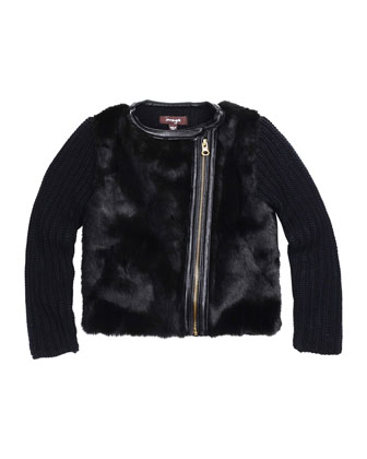 Faux-Fur-Trim Knit Jacket, Size 4-6