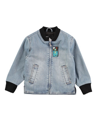 Han Embossed Denim Jacket, Worn Denim, Size 4-8