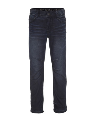 Alonso Faded Regular-Fit Stretch Jeans, Indigo Shadow, Size 8-12
