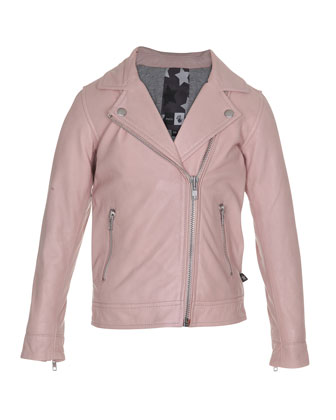 Leather Zip Motorcycle Jacket, Light Pink, Size 8-14