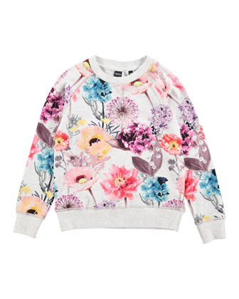Long-Sleeve Floral Jersey Tee, Hyper Bloom, Size 3-12