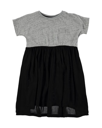 Short-Sleeve Jersey & Voile Colorblock Dress, Gray/Black, Size 3-12