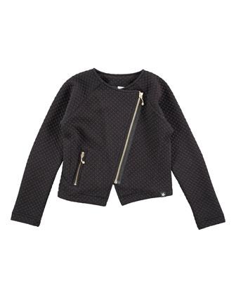 Waffle-Knit Raglan Motorcycle Jacket, Black, Size 3-14