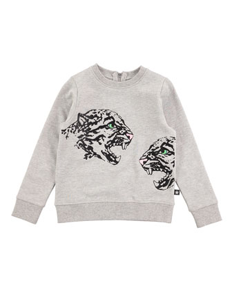 Long-Sleeve Cheetah Jersey Tee, Gray, Size 4-14