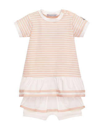 Short-Sleeve Striped Tunic w/ Ruffle Bloomers, Pink, Size 6-24 Months