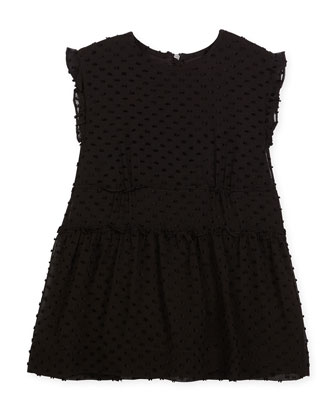 Janina Sleeveless Silk-Blend Boucle Dress, Black, Size 4-14