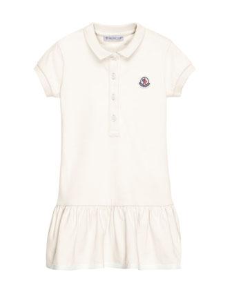 Short-Sleeve Cotton-Blend Polo Dress, White, Size 4-6