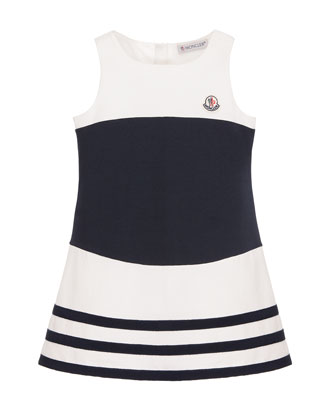 Sleeveless Striped Stretch Dress, White/Blue, Size 4-6