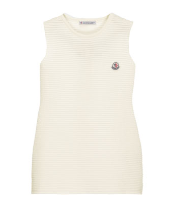 Sleeveless Ribbed Sheath Dress, White, Size 8-14