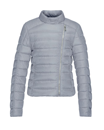 Clervie Asymmetric-Zip Puffer Jacket, Gray, Size 8-14
