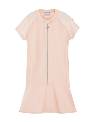 Short-Sleeve Stretch Fit-and-Flare Dress, Pink, Size 8-14