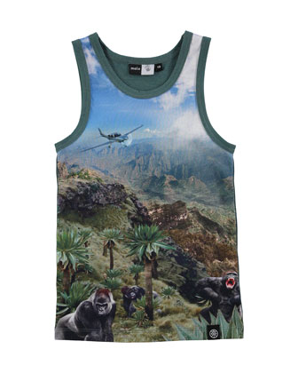 Cotton-Blend Wild Mountains Jersey Tank, Green/Multicolor, Size 4-6