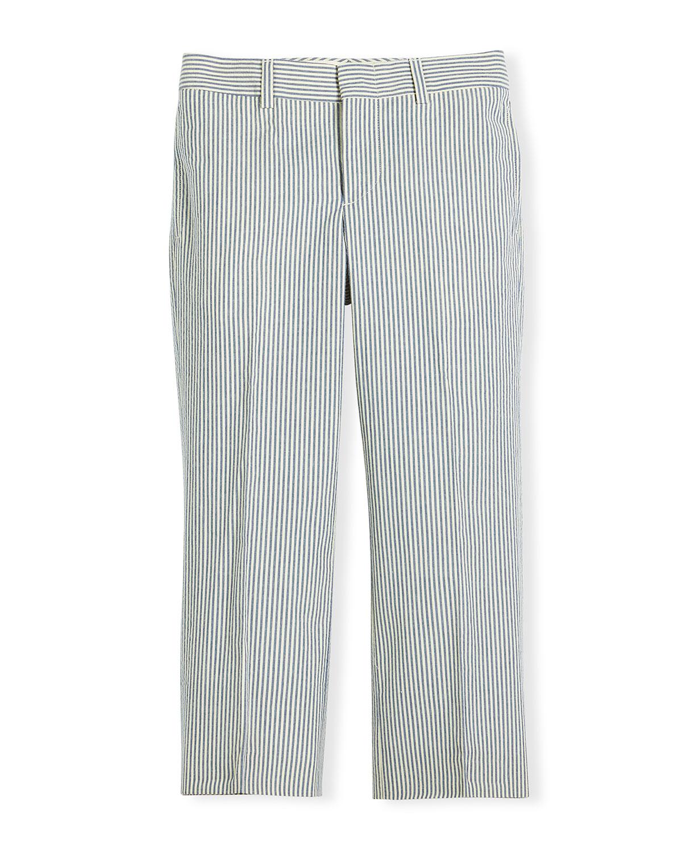Woodsman Striped Seersucker Pants, Blue/Cream (Blue/Ivory), Size 4-7, Boy's, Size: 5 - Ralph Lauren Childrenswear