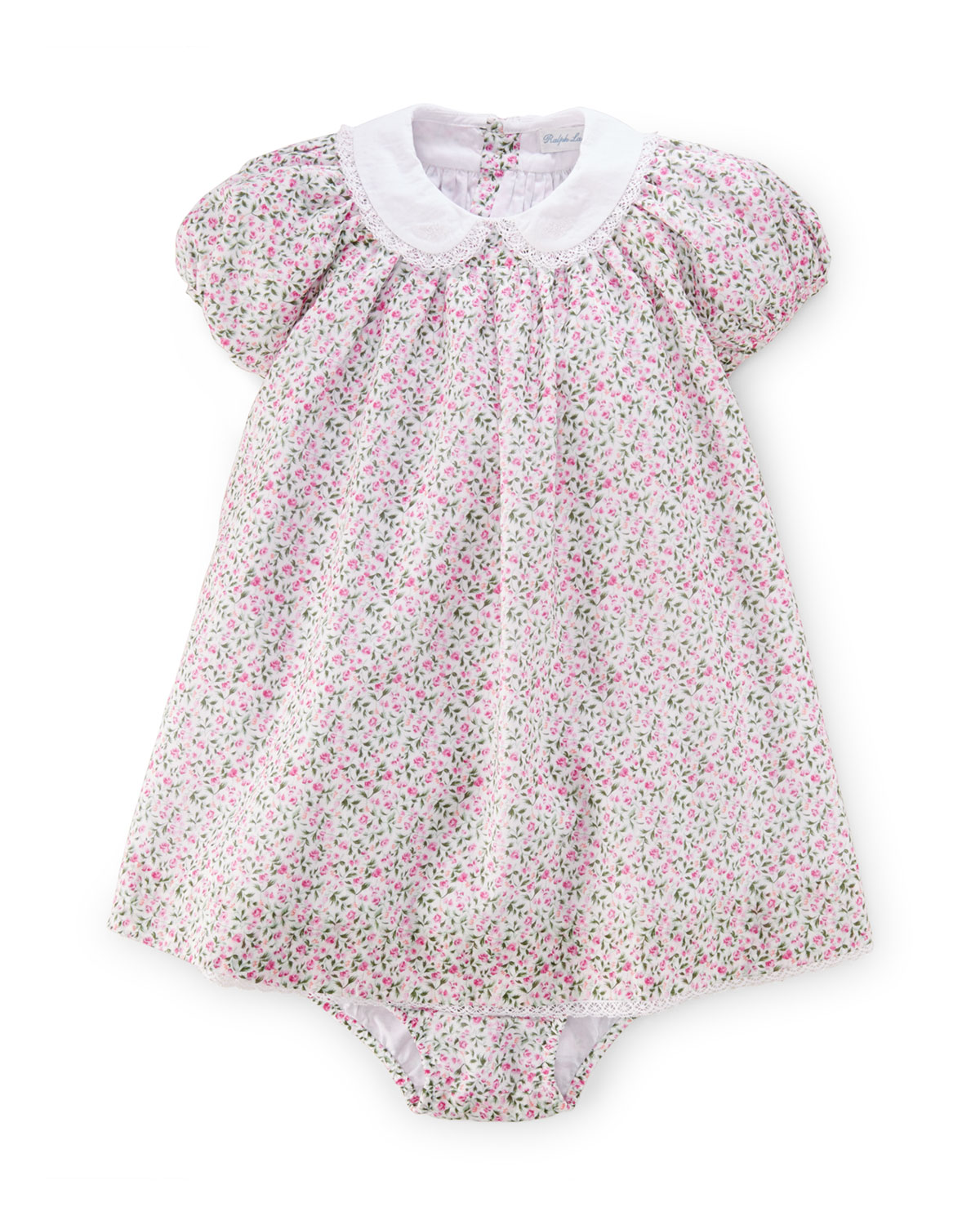 Batiste Floral Lace-Trim Dress w/ Bloomers, White/Multicolor, Size 9-24 Months, Infant Girl's, Size: 24 Months, White Multi - Ralph Lauren Childrenswear
