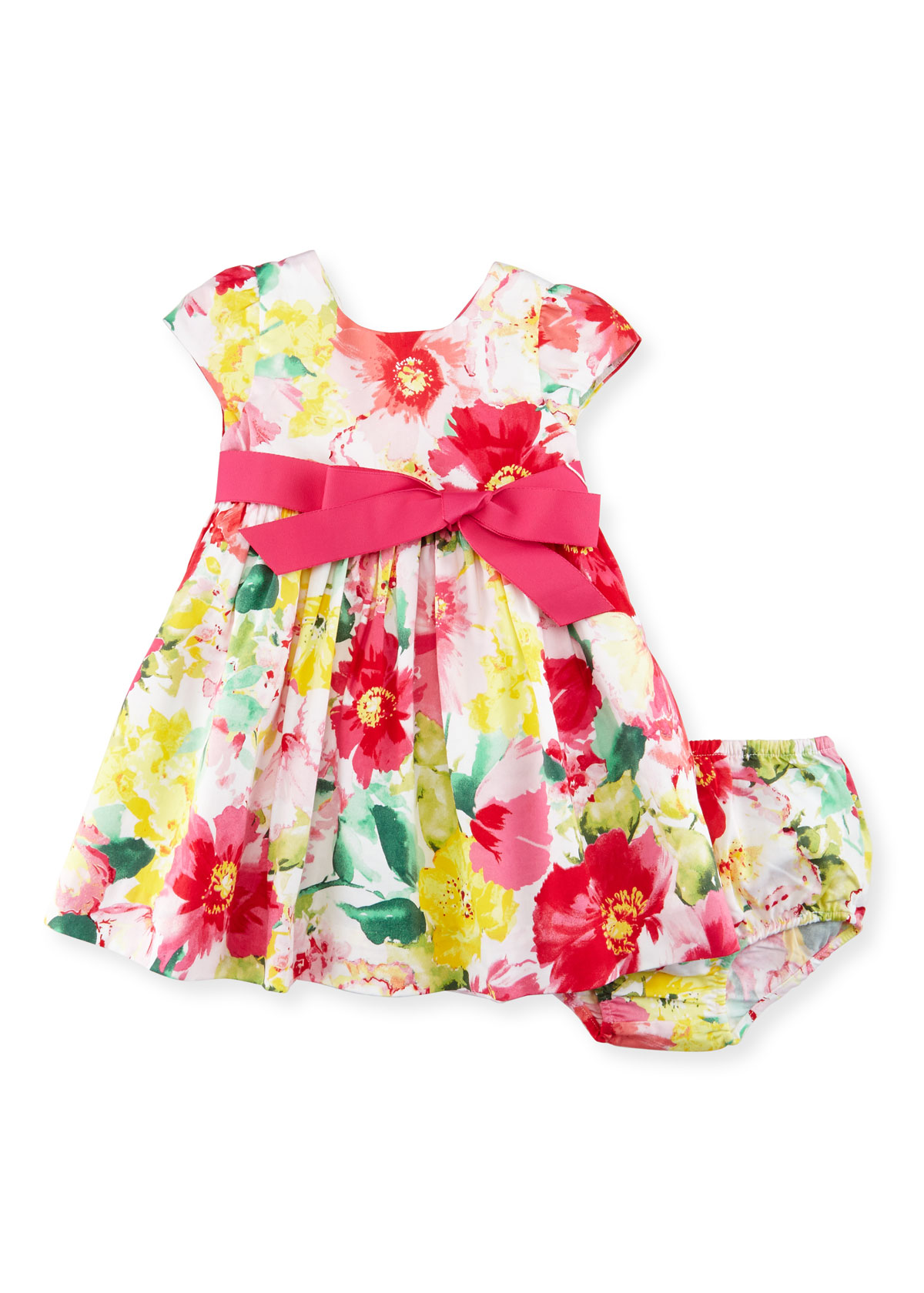 Cap-Sleeve Floral Poplin Dress w/ Bloomers, Pink, Size 9-24 Months, Infant Girl's, Size: 12 Months - Ralph Lauren Childrenswear