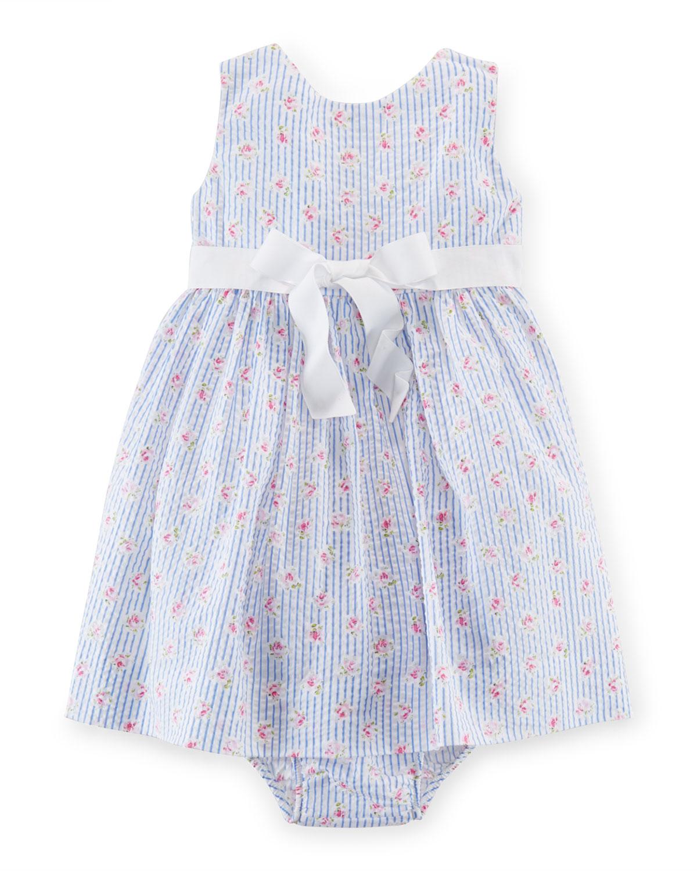 Sleeveless Printed Seersucker Dress w/ Bloomers, White/Blue, Size 9-24 Months, Infant Girl's, Size: 18 Months - Ralph Lauren Childrenswear