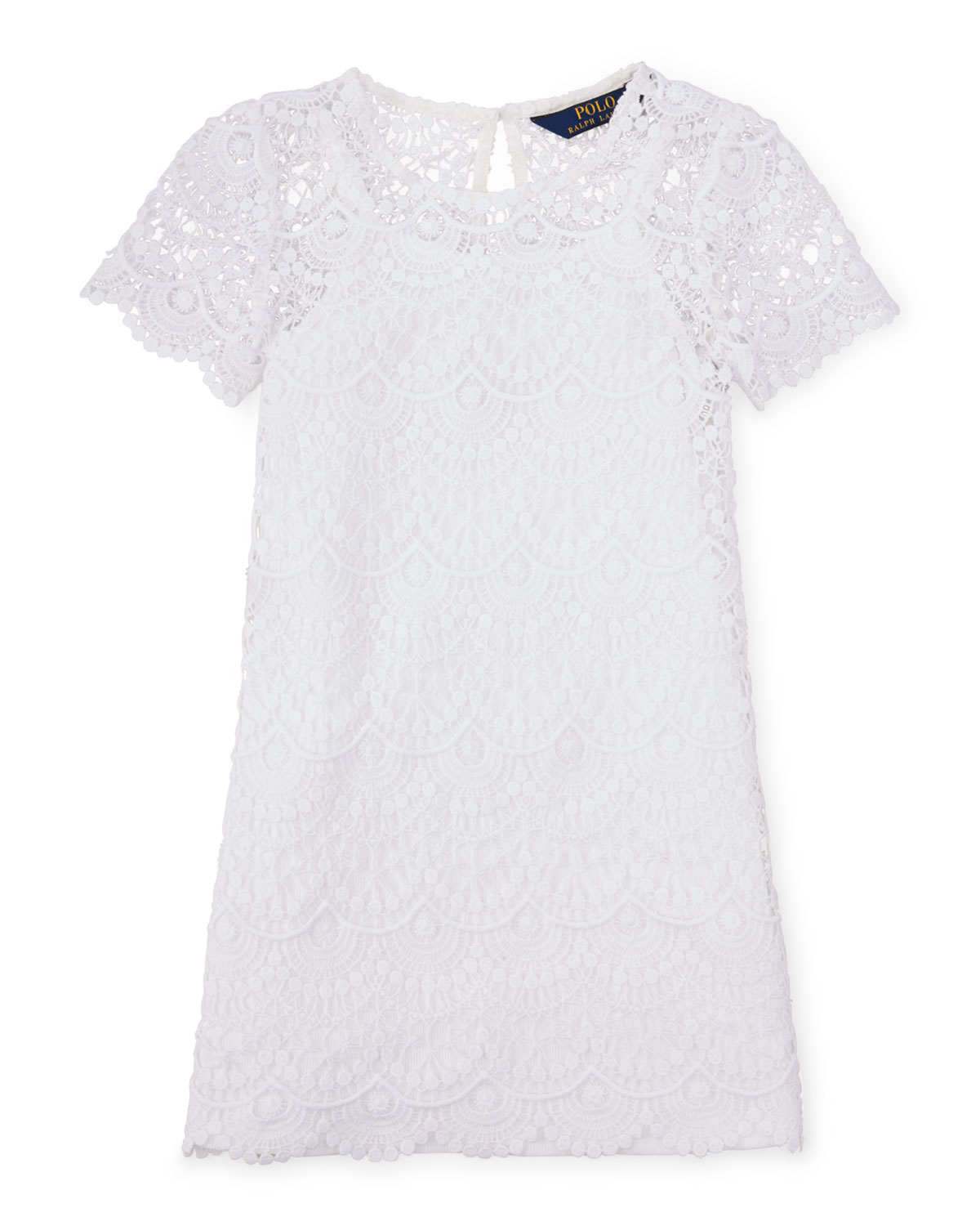 Short-Sleeve Chemical Lace Shift Dress, White, Size 2-6X, Women's, Size: 2 - Ralph Lauren Childrenswear