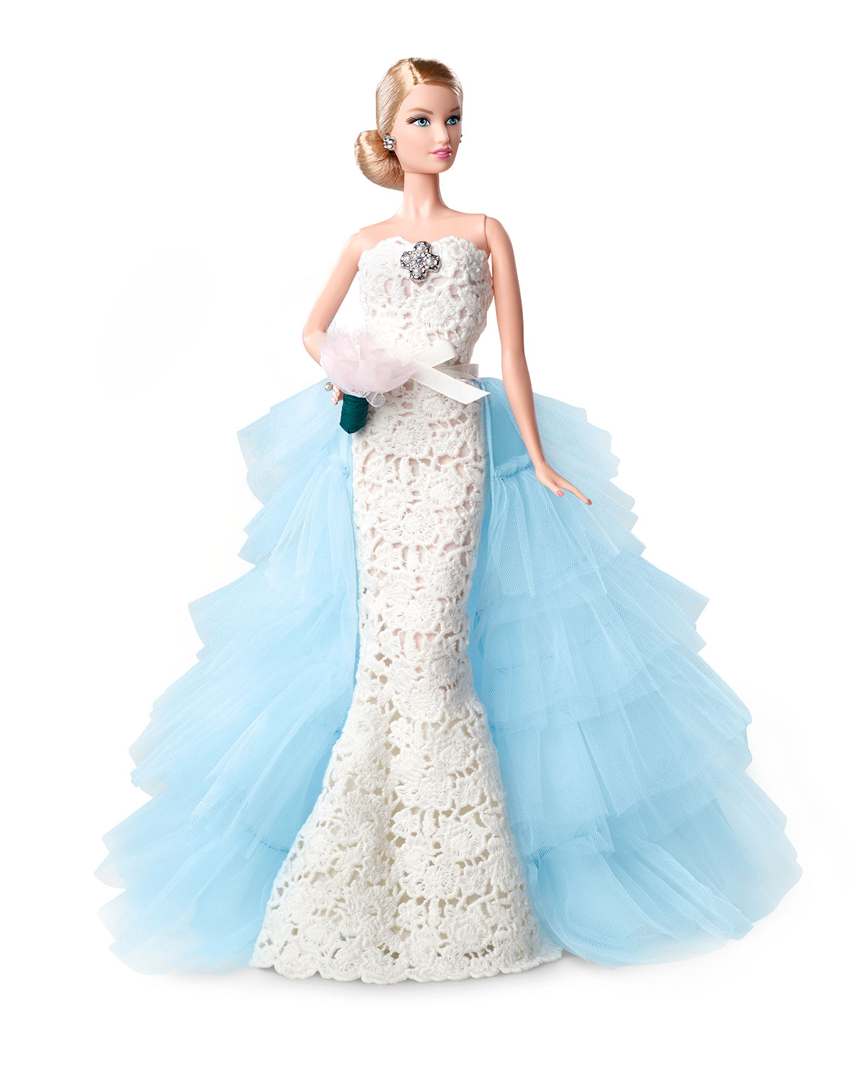 Oscar de la Renta Barbie® Bride Doll, White/Blue