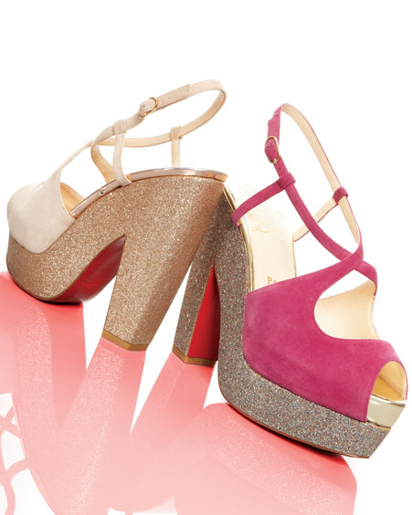 Christian Louboutin - Suede Glitter-Platform Sandal - Neiman Marcus from neimanmarcus.com