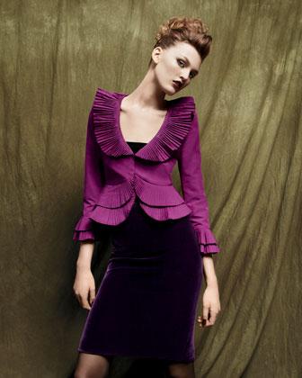 Armani Collezioni Plisse-Ruffled Jacket & Velvet Skirt