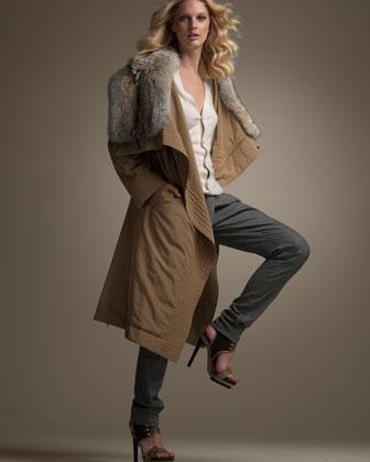 Michael Kors Fur Canvas Parka, Raglan Top & Pleated Crossover Pants