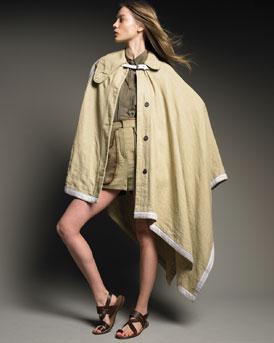 Chloe Long Cape, Cape-Back Shirt & Leather-Trim Shorts
