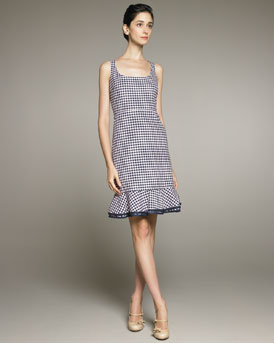 RED Valentino Ruffle-Bottom Gingham Dress