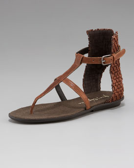 Henry Beguelin Woven-Back Thong Sandal