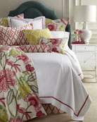 Twin White Coverlet with Pink Trim, 66