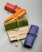 Crocodile-Embossed Jewelry Roll