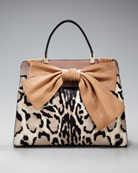 Valentino Aphrodite Leopard-Print Shopper :  bow print hair shopper