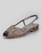 Grace Flat Woven Leather Slingback, Pewter/Bronze
