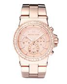 Baguette-Bezel Watch, Rose Gold