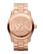 Oversized Rose Golden Stainless Steel Runway Three-Hand Glitz Watch