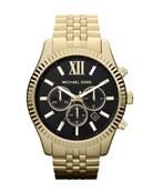 Oversized Golden Stainless Steel Lexington Three-Hand Watch