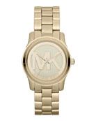 Mid-Size Golden Stainless Steel Logo Three-Hand Watch