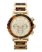 Oversize Tortoise/Golden Stainless Steel Lillie Chronograph Watch