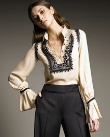 Oscar de la Renta Embroidered Silk Blouse
