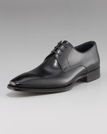 Magnanni for Neiman Marcus Square-Toe Leather Lace-Up