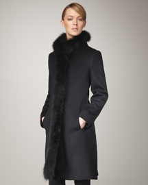 Fleurette Fur-Trim Coat