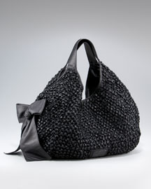 Valentino Nuage Bow Tote :  bow black leather tote