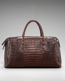 Carlos Falchi Ashley Matte Croc Satchel