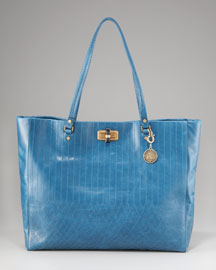 Lanvin Quilted Happy Shopping Tote, Blue