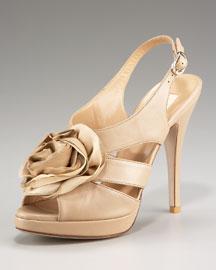 ValentinoRose Platform Sandal :  platform taupe shoe rosette
