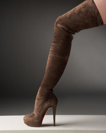 Christian Louboutin Suede Over-The-Knee Platform Boot