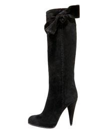 Dior Bow-Tie Suede Knee Boot