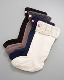 Hunter Boot Cable-Cuff Welly Socks
