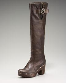 Stuart Weitzman Wooden Clog-Bottom Boot