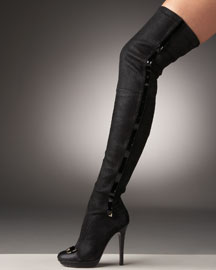 Versace Shimmer Suede Over-the-Knee Boot