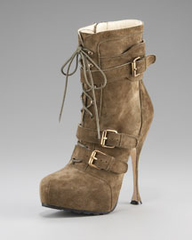 Brian Atwood Military Buckle Ankle Boot